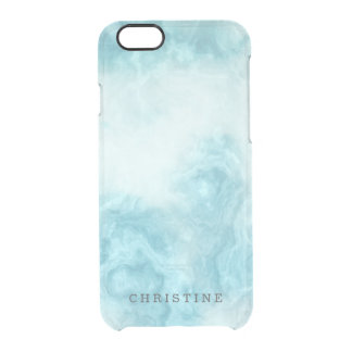 Clear monogram name marble agate blue watercolor clear iPhone 6/6S case