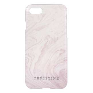 Clear monogram name marble agate pink watercolor iPhone 8/7 case