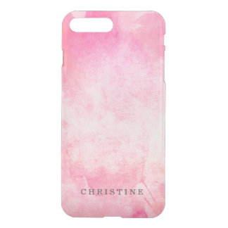 Clear monogram name watercolor hipster pink neon iPhone 7 plus case