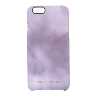 Clear monogram name watercolor hipster purple lila clear iPhone 6/6S case