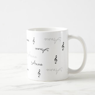 clear name typography + music treble clefs coffee mug
