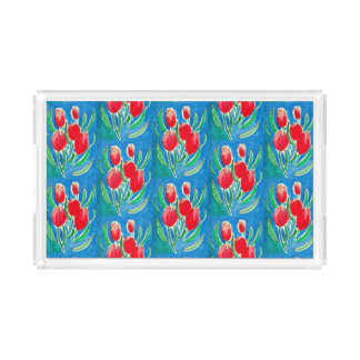 Clear plexiglass tray with red tulips