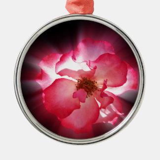 clear red petals metal ornament