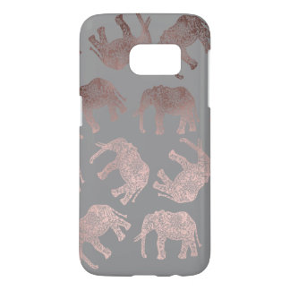 clear rose gold foil tribal elephant pattern