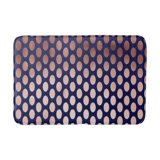 clear rose gold navy blue foil polka dots pattern bath mat