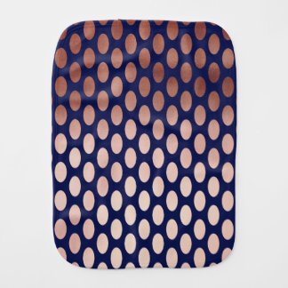 clear rose gold navy blue foil polka dots pattern burp cloths