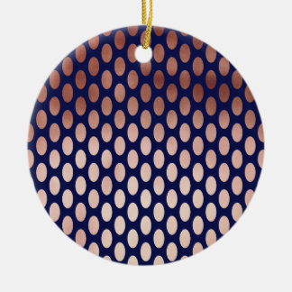 clear rose gold navy blue foil polka dots pattern round ceramic decoration