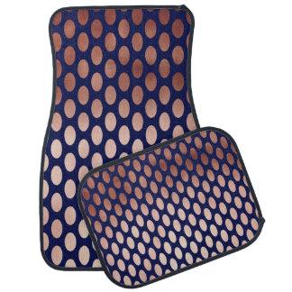 clear rose gold navy blue polka dots pattern car mat