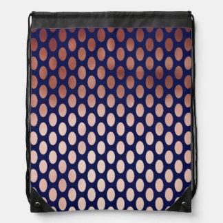 clear rose gold navy blue polka dots pattern drawstring bag