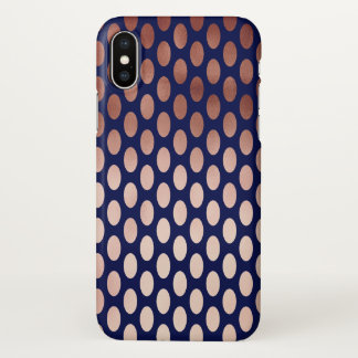 clear rose gold navy blue polka dots pattern iPhone x case