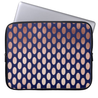 clear rose gold navy blue polka dots pattern laptop sleeve