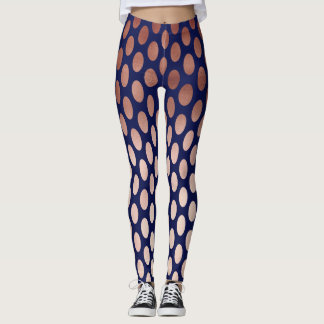 clear rose gold navy blue polka dots pattern leggings