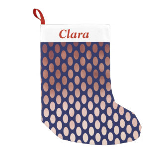 clear rose gold navy blue polka dots pattern small christmas stocking