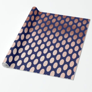 clear rose gold navy blue polka dots pattern wrapping paper