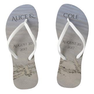 Clear sandy beach flip flops