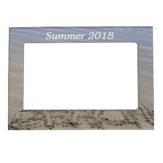 Clear sandy beach magnetic picture frame