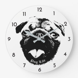 Clear & Simple Pug Life Smile Large Clock