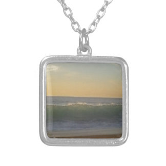 clear summer wave silver plated necklace