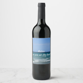 Clear turquoise beach bottle label