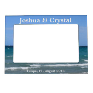 Clear turquoise beach magnetic picture frame