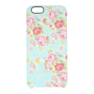Clear vintage floral blue pink shabby rose flower clear iPhone 6/6S case