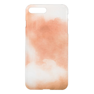 Clear watercolor ikat hipster peach coral orange iPhone 7 plus case