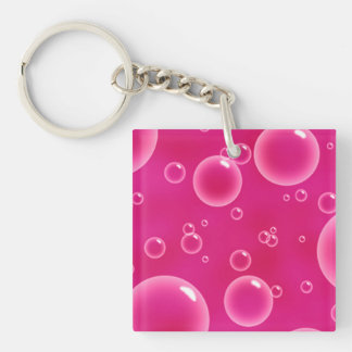 Clear White And Pink Color Bubbles Key Ring