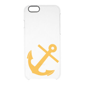 Clear yellow anchor nautical anchors preppy vintag clear iPhone 6/6S case
