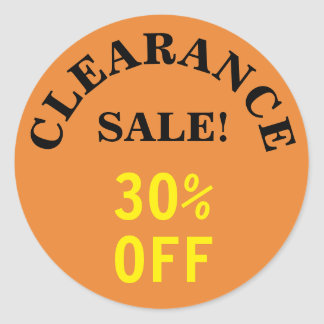 """CLEARANCE SALE!"" ""30% OFF"" Round Sticker"