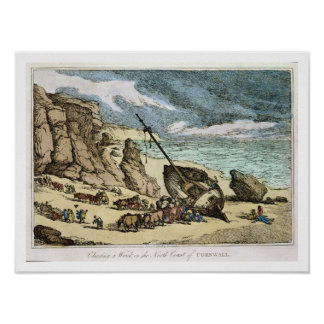 Clearing a Wreck on the North Coast of Cornwall, f Poster