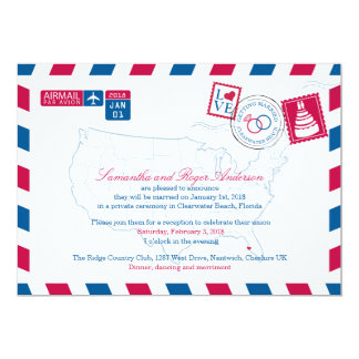 Clearwater Beach Florida Airmail Wedding Reception Card