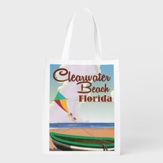 Clearwater Beach, Florida vintage travel poster Reusable Grocery Bags