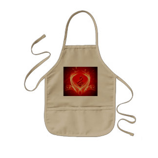 Clef and key notes on red background kids apron