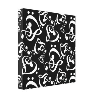 Clef Hearts Black and White Music Wall Art Canvas Gallery Wrapped Canvas