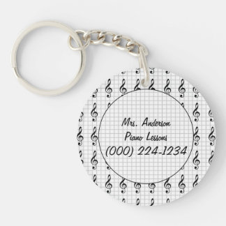 Clef Note on Graph Paper- Piano Teacher Key Ring