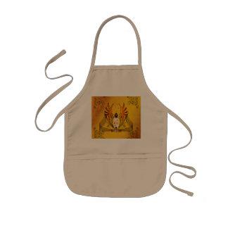 Clef on a decorative button, golden design kids apron