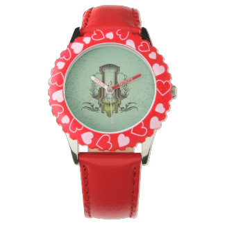 Clef on decorative button wristwatches