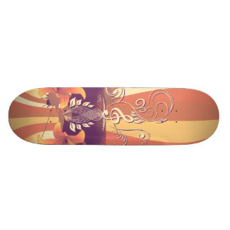 Clef with decorative floral elements skateboard deck