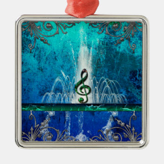 Clef with water splash and floral elements Silver-Colored square decoration