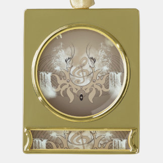 Clef with waterfalls gold plated banner ornament