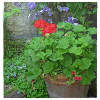 Clematis and geranium flower garden printed napkins
