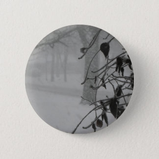 Clematis and Snow fall during a blizzard. 6 Cm Round Badge