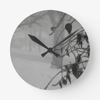 Clematis and Snow fall during a blizzard. Round Clock