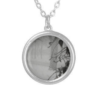Clematis and Snow fall during a blizzard. Silver Plated Necklace