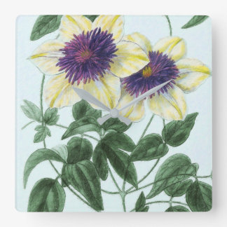Clematis Flower Art Square Wall Clock