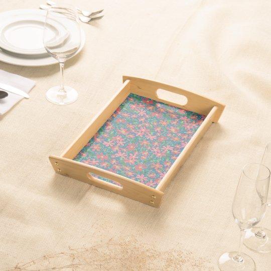 Clematis Pink, Red, Orange Floral on Deep Blue Serving Tray