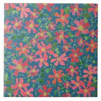 Clematis Pink, Red, Orange Floral on Deep Blue Tile