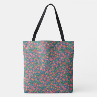 Clematis Pink, Red, Orange Floral on Deep Blue Tote Bag