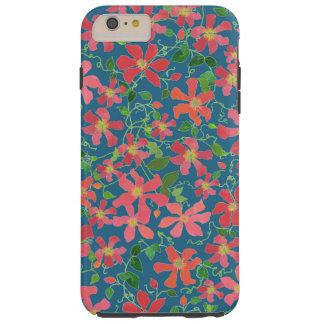 Clematis Pink, Red, Orange Floral on Deep Blue Tough iPhone 6 Plus Case