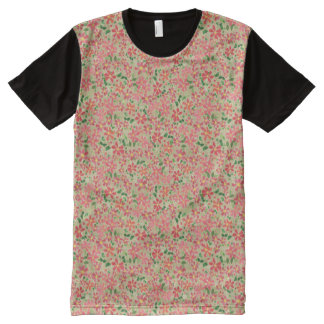 Clematis Pink, Red, Orange Floral Pattern on Taupe All-Over Print T-Shirt